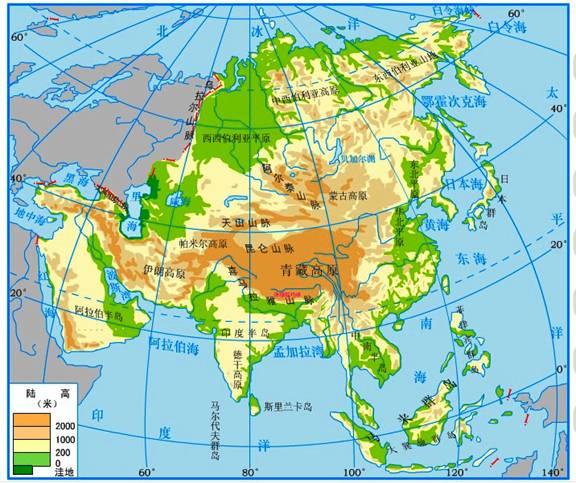 亚洲地形地图_亚洲及欧洲(一)