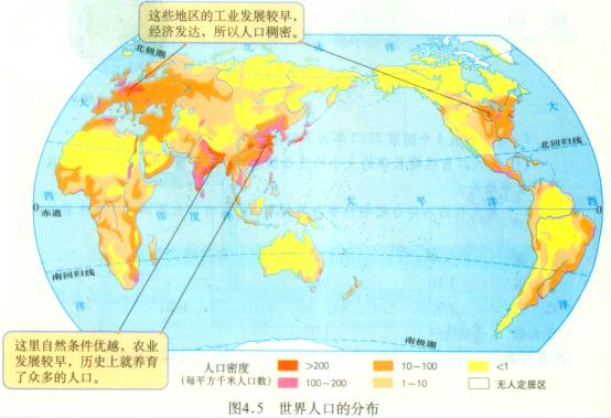 世界人口分布图手绘