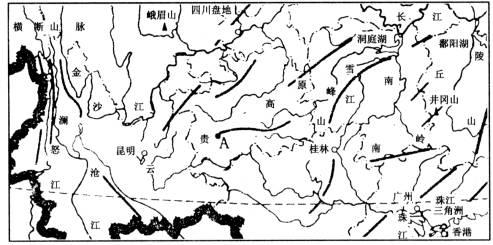 (1)黄果树瀑布位于a位置